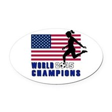 Women's Soccer Champions Oval Car Magnet