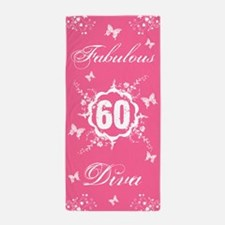60th Birthday Fabulous Diva Beach Towel
