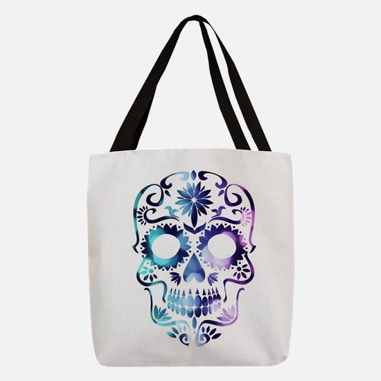 Blue & Purple Sugar Skull Polyester Tote Bag