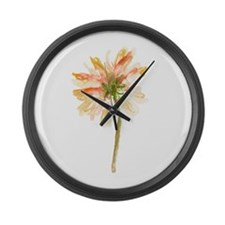 Watercolor Daisy Flower peach and Large Wall Clock
