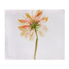Watercolor Daisy Flower peach and Or Throw Blanket