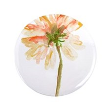 """Watercolor Daisy Flower pea 3.5"""" Button (100 pack)"""