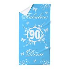 90th Birthday Fabulous Diva Beach Towel