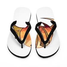 Mosaic Orange and Red Armadillo w Metal Flip Flops
