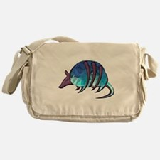 Mosaic Blue Armadillo with Purple Me Messenger Bag