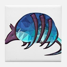 Mosaic Blue Armadillo with Purple Met Tile Coaster