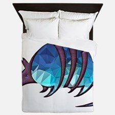 Mosaic Blue Armadillo with Purple Meta Queen Duvet