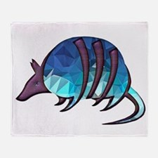 Mosaic Blue Armadillo with Purple Me Throw Blanket