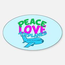 Cute Airplane Sticker (Oval)