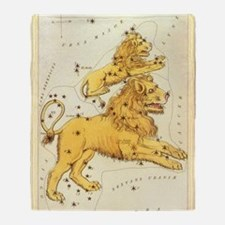 Vintage Celestial Zodiac, Leo Throw Blanket
