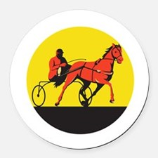 Horse and Jockey Harness Racing Circle Retro Round