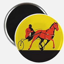 Horse and Jockey Harness Racing Circle Retro Magne