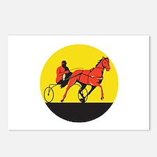 Horse and Jockey Harness Racing Circle Retro Postc
