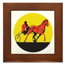 Horse and Jockey Harness Racing Circle Retro Frame