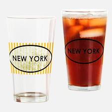 New York Stone Yellow Pin Stripes Drinking Glass