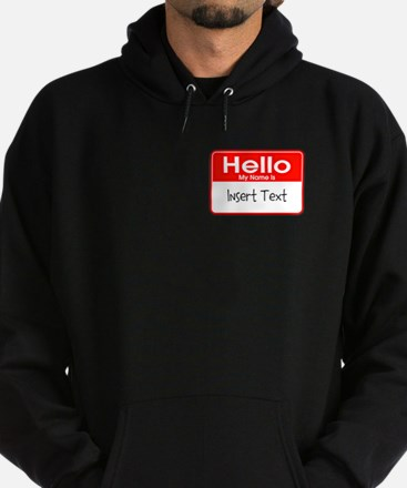 Personalized Hello Name Tag Hoodie (dark)