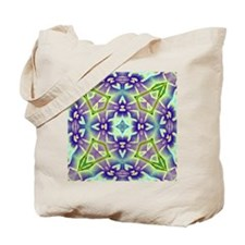 Green and Lavender Plumeria Medallion Tote Bag