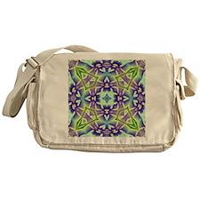 Green and Lavender Plumeria Medallio Messenger Bag