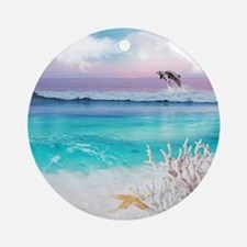 Beach and Ocean  Dancing Dolphins Round Ornament