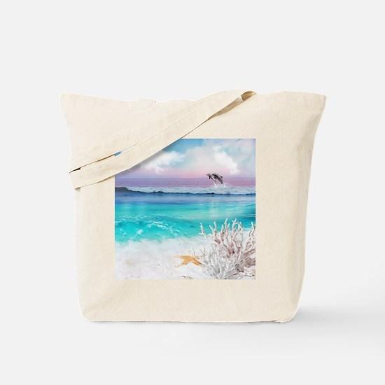 Beach and Ocean  Dancing Dolphins Tote Bag