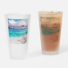 Beach and Ocean  Dancing Dolphins Drinking Glass