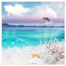 Beach and Ocean  Dancing Dolphins Canvas Art