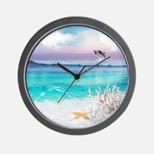 Beach and Ocean  Dancing Dolphins Wall Clock