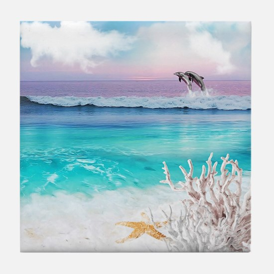 Beach and Ocean  Dancing Dolphins Tile Coaster