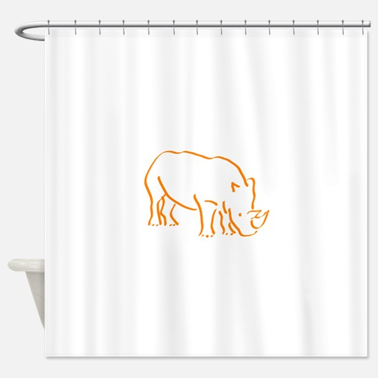 Orange Rhino Shower Curtain