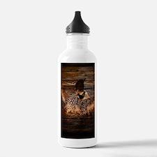 barn wood wild loon Water Bottle
