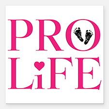 "Pro Life Pink Square Car Magnet 3"" x 3"""