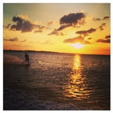 Wakeboarding in Sunset Poster