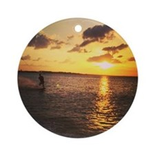 Wakeboarding in Sunset Round Ornament