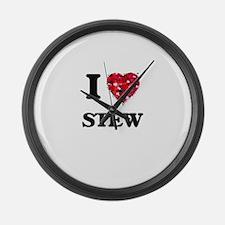 I love Stew Large Wall Clock
