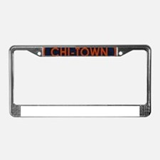 CHI TOWN Blue Stone License Plate Frame