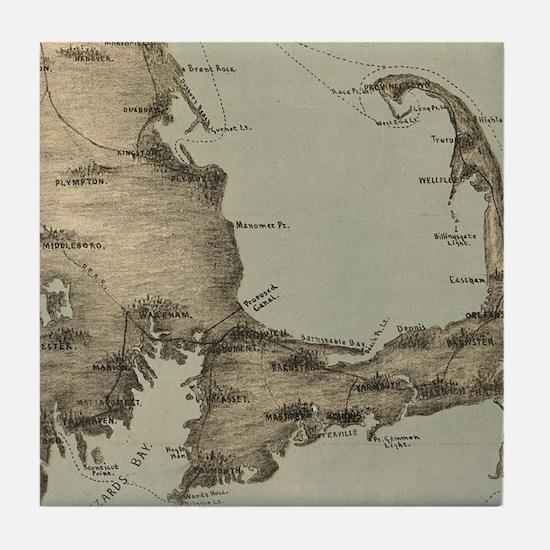 Vintage Map of Cape Cod (1885) Tile Coaster
