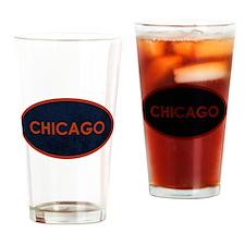 Chicago Orange Blue Stone Drinking Glass