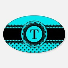 Turquoise Black Polka Dots Sticker (Oval 10 pk)