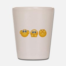 three wise emojis Shot Glass
