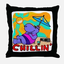 Chillin' Hippo Throw Pillow