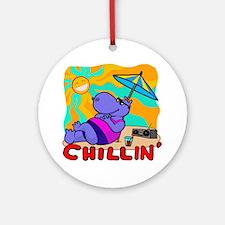 Chillin' Hippo Round Ornament