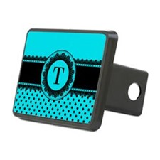 Turquoise Black Polka Dots Hitch Cover