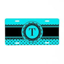 Turquoise Black Polka Dots Aluminum License Plate
