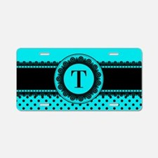 Turquoise Black Polka Dots Aluminum License Plate
