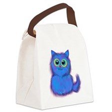 blue kitty Canvas Lunch Bag