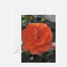 orange rose in grey Greeting Cards
