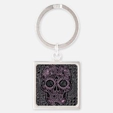 Cute Pink skull Square Keychain