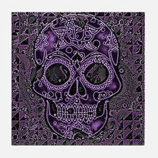 Cool Purple skull Tile Coaster