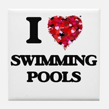 I love Swimming Pools Tile Coaster