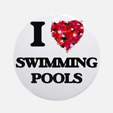 I love Swimming Pools Ornament (Round)